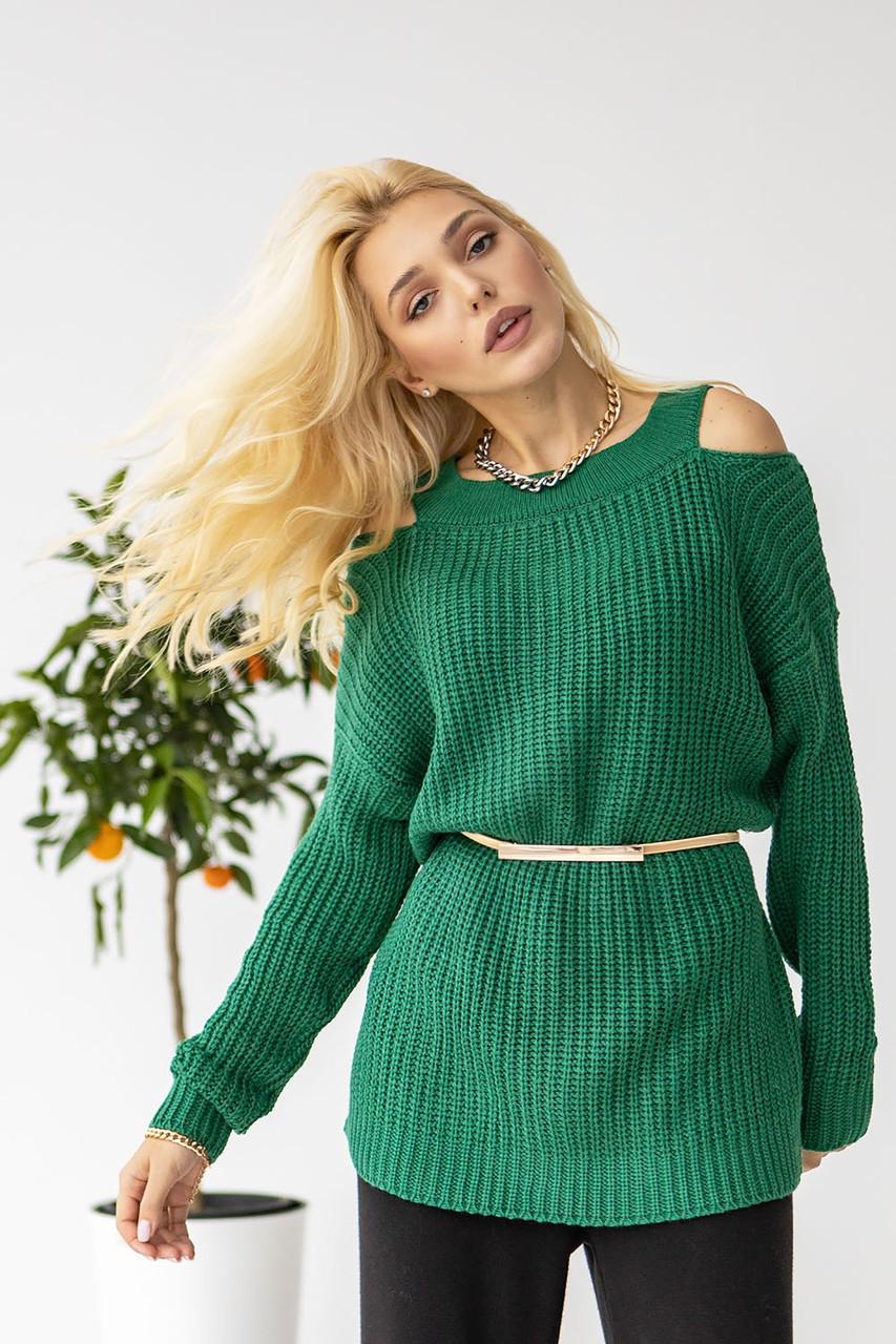 Вязаный свитер Зеленый  50-54 размер
