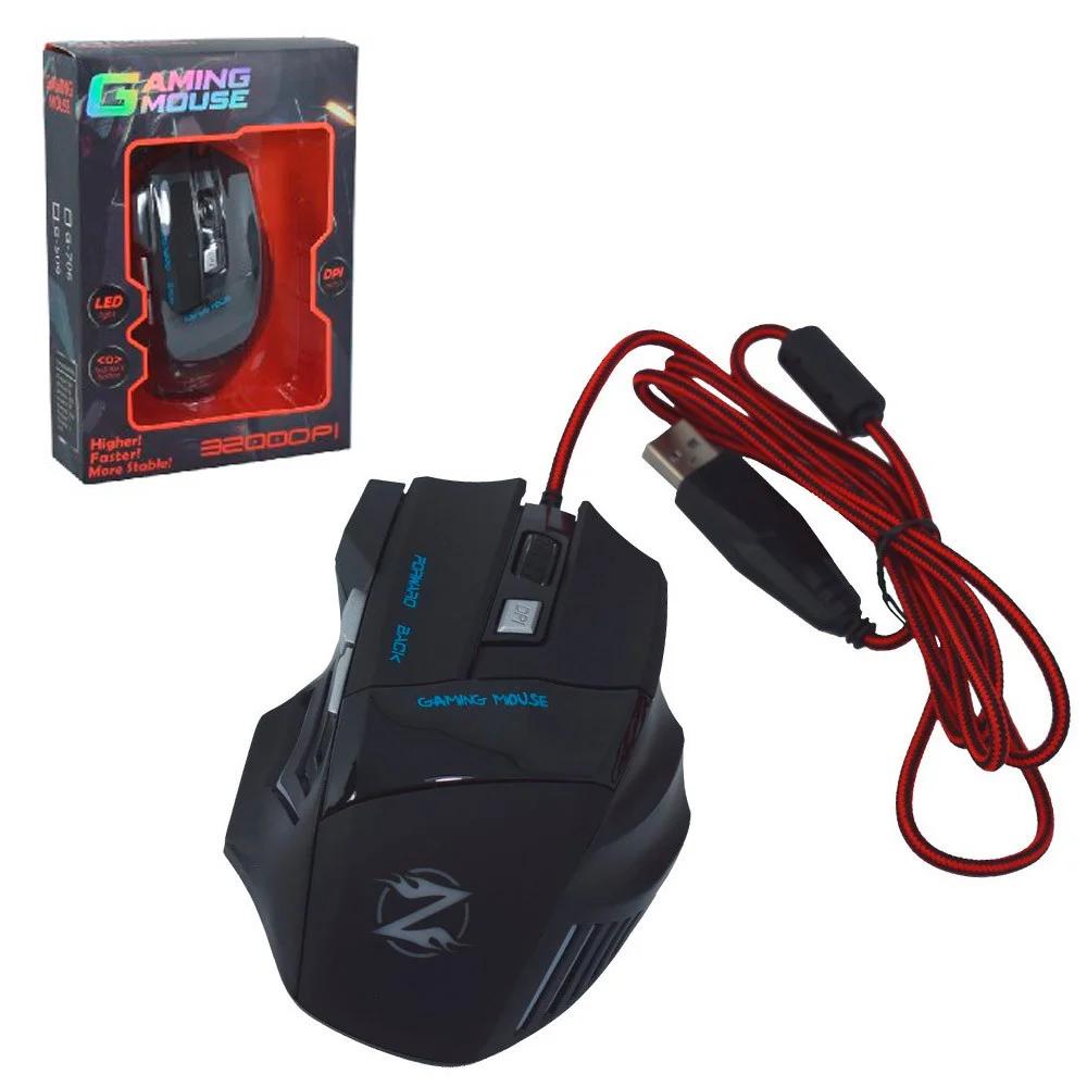 Комп'ютерна ігрова оптична дротова мишка чорного кольору G-706
