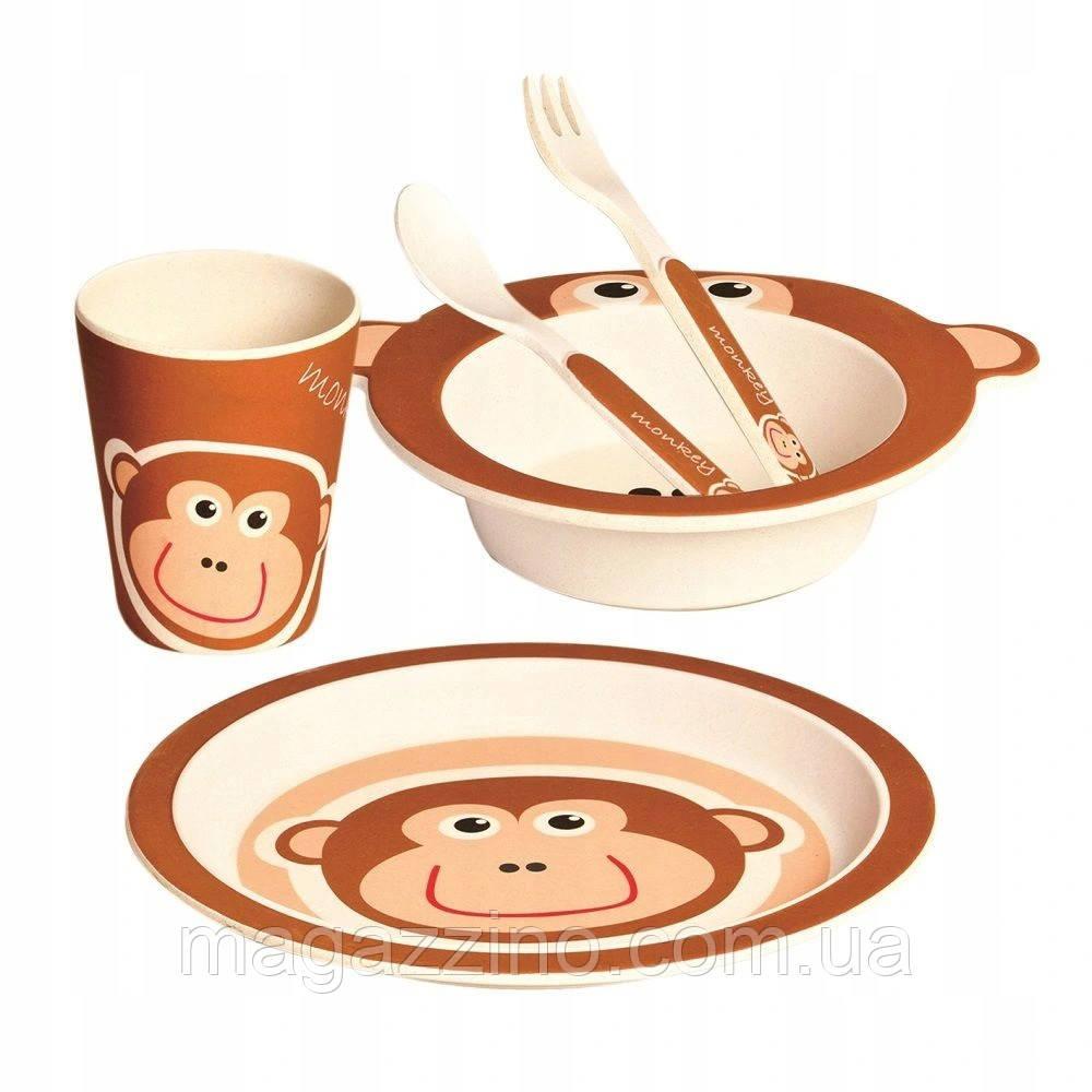"""Набор детской бамбуковой посуды, ConBrio, """"Обезьянка"""", 5 предметов"""