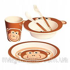 """Набір дитячої бамбуковій посуду, ConBrio, """"Мавпочка"""", 5 предметів"""