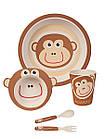 """Набор детской бамбуковой посуды, ConBrio, """"Обезьянка"""", 5 предметов, фото 2"""
