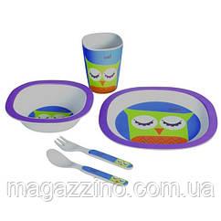 """Набір дитячої бамбуковій посуду, ConBrio, """"Сова"""", 5 предметів"""