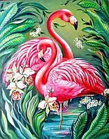 "Алмазна картина — розмальовка за номерами ""Фламинго"" 40*50 см."