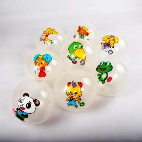 """Мяч 9"""" BT-PB-0127 животные 6 рис. прозрачный 70г сетка"""