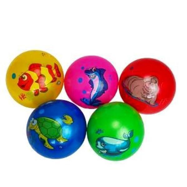 """Мяч 9"""" BT-PB-0119 морские животные 4 рис. 5 цв. 60г сетка"""