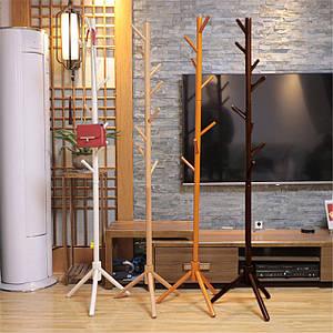 Вешалка-стойка напольная из дерева темно-коричневого цвета