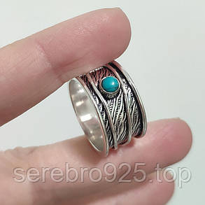 Кольцо спиннер ,нат.бирюза  в серебре 19,5 р,, фото 2