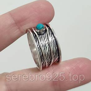 Кільце спиннер ,нат.бірюза в сріблі 19,5 р,, фото 2