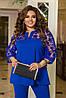 Красивый женский нарядный костюм: блуза-туника со вставками сетки с брюками, батал большие размеры, фото 5