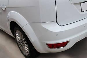 Накладки заднего рефлектора (2 шт, нерж) Ford Focus II 2008-2011 гг. / Накладки на задний бампер Форд Фокус