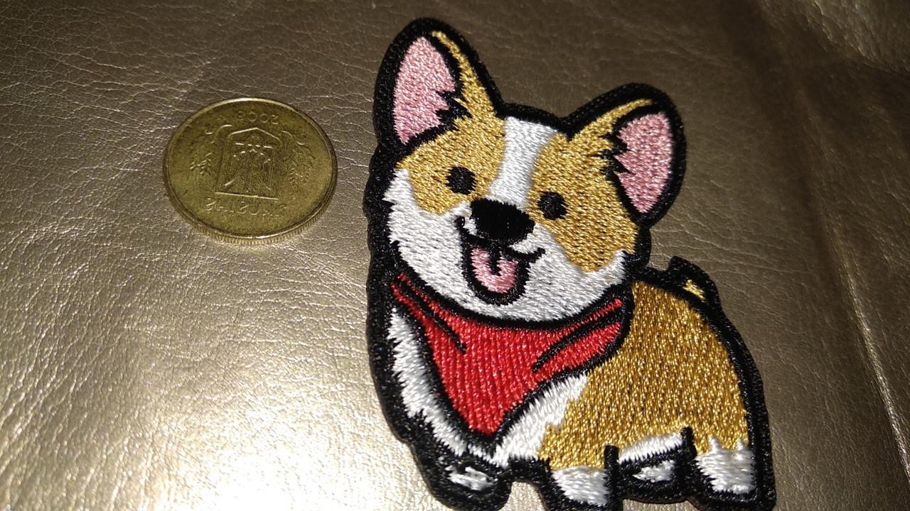 На одежду нашивка апликация отличное качество собака корги Вельш-корги