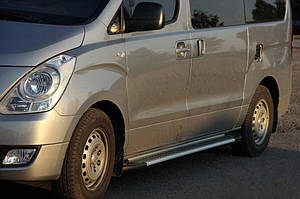 Боковые пороги Allmond Grey (2 шт., алюм.) Hyundai Starex H1 H300 2008↗ гг. / Боковые пороги Хюндай