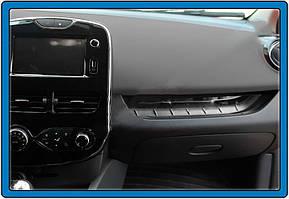 Накладка на переднюю консоль (нерж.) Renault Clio IV 2012-2019 гг. / Хром накладки в салон Рено Клио 4