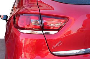 Накладка на задние фонари (2 шт, нерж.) Renault Clio IV 2012-2019 гг. / Накладки на фонари Рено Клио 4