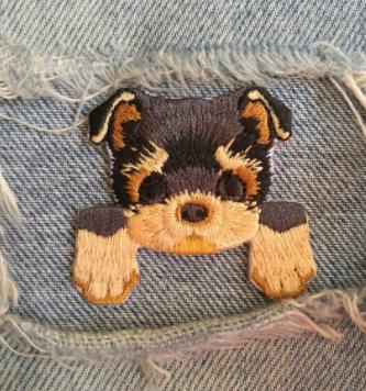 На одежду нашивка апликация термонаклейка собака йоркширский терье йорикр