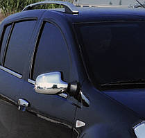 Dacia Duster Накладки на зеркала нерж. (вариант 2) / Накладки на зеркала Дачиа Дастер