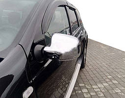 Renault Logan 2 Хром накладки зеркал из нержавейки OmsaLine / Накладки на зеркала Рено Логан 2