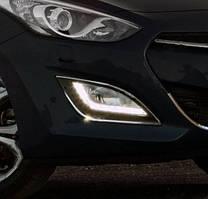 Накладки на противотуманки (2 шт, нерж.) Hyundai I-30 2012-2017 гг. / Накладки на противотуманки Хюндай И-30
