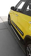 Боковые пороги Duru (2 шт., алюминий) Fiat 500/500L / Боковые пороги Фиат 500/500L