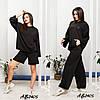 Стильний молодіжний жіночий костюм трійка оверсайз: широкі штани і кофта з капюшоном і з шортами, фото 6
