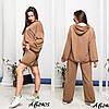 Стильний молодіжний жіночий костюм трійка оверсайз: широкі штани і кофта з капюшоном і з шортами, фото 4