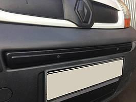 Renault Trafic 2007-2015 Нижняя решетка радиатора сверху номера матовая / Зимние накладки Рено Трафик