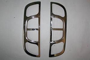 Накладка на стопы прямые (2 шт, нерж.) Fiat Fiorino/Qubo 2008↗ гг. / Накладки на фонари Фиат Кубо