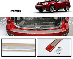 Накладка на задний бампер OmsaLine (нерж.) Subaru Forester 2013-2018 гг. / Накладки на задний бампер Субару