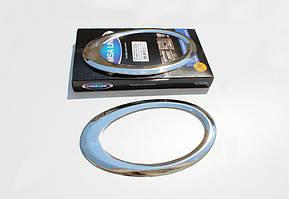 Накладки на противотуманки (2 шт, нерж) Ford Connect 2014↗ гг. / Накладки на фонари Форд Транзит Коннект