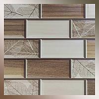 Декоративна панель пластикова ПВХ кахельна плитка Листопад 960 х 485мм стінова під камінь з листочками