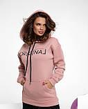 Рожева подовжена жіноча штани на флісі, фото 2