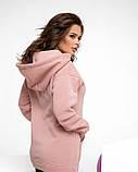 Розовая удлиненная женская толстовка на флисе, фото 3