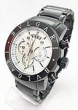 Чоловічі наручні годинники BVLGARI, чорні з білим циферблатом ( код: IBW613BO )