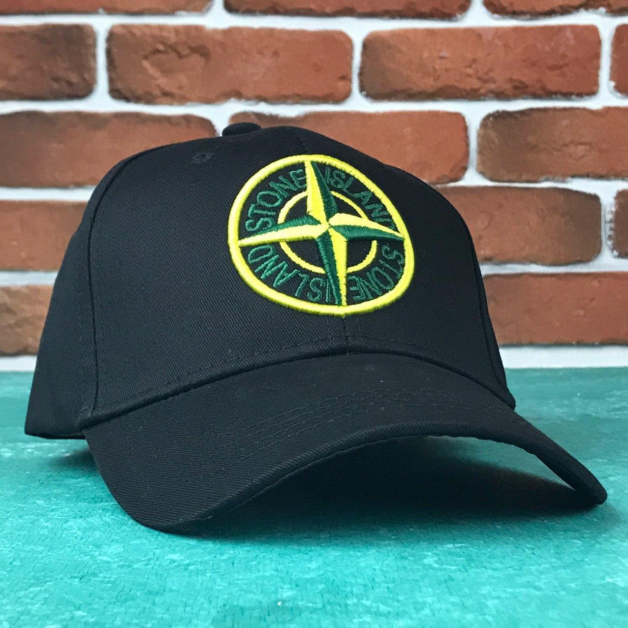 Кепка Бейсболка Мужская Женская Stones Island Черная с желтым лого