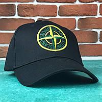 Кепка Бейсболка Мужская Женская Stones Island Черная с желтым лого, фото 1