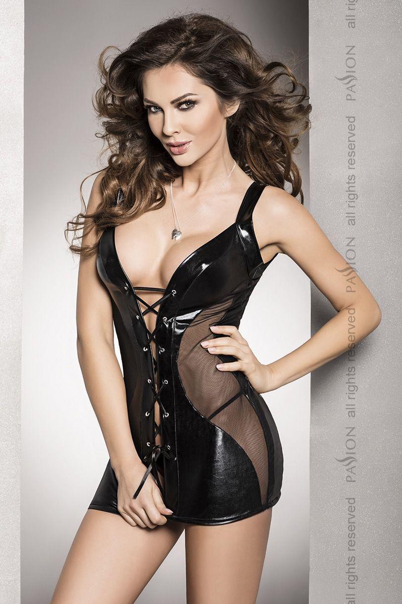 Сорочка приталенная со шнуровкой под латекс DONATA CHEMISE black L/XL - Passion Exclusive, трусики
