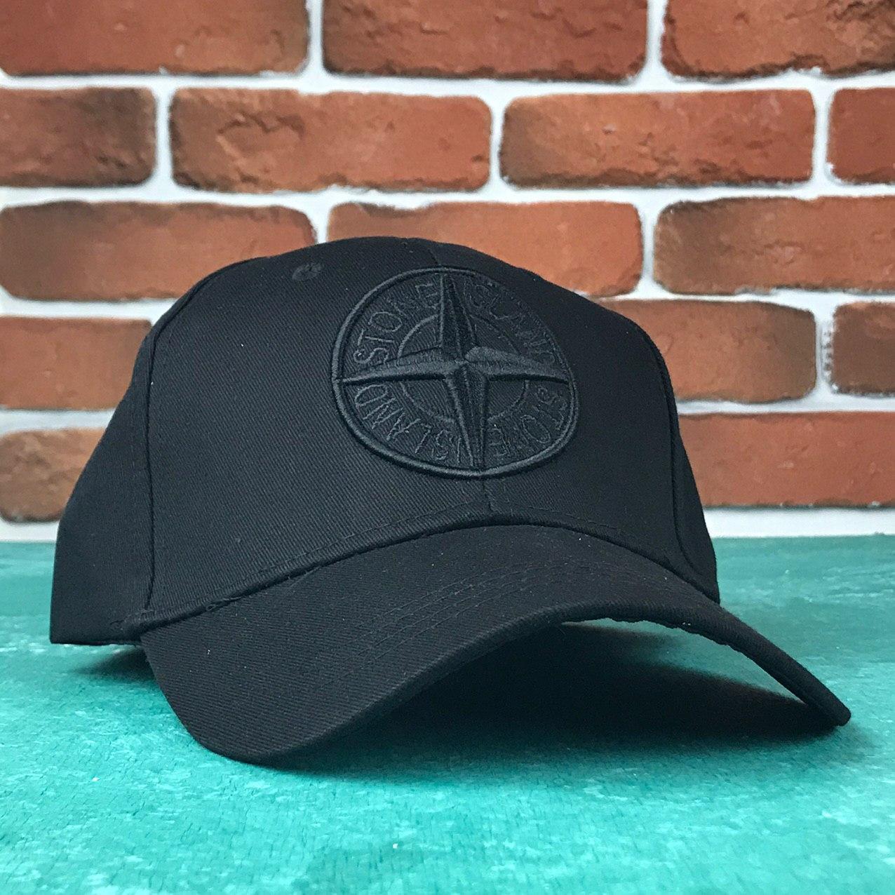 Кепка Бейсболка Чоловіча Жіноча Stones Island Чорна з чорним лого