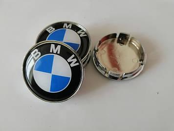 """Колпачки на титаны """"BMW"""" (60/55мм) хром/черн.синий гладкий пластик логотип  (4шт)"""