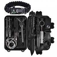 Комплект инструментов для выживания 14 в 1 Survival, Черный