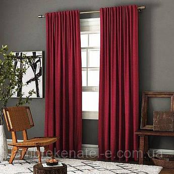 Шторы в зал спальню, готовый комплект цвет бордовый, ткань шанзелизе, тюль на заказ