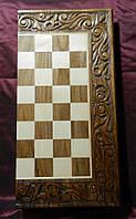 Шахмати ручної роботи 3 в 1 дерев'яні різьблені 50*25*8 см