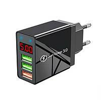 Оригінальний зарядний блок живлення Elough з дисплеєм на 3 USB швидка зарядка Quick Charge 3.0 Чорний