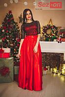Платье женское длинное из атласа и гипюра - Красный