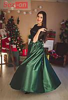 Платье женское длинное из атласа и гипюра - Зеленый бутылочный