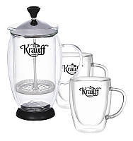 Набор 3 предмета: Френч-пресс 600мл и две чашки по 150мл (двойная стенка) Krauff