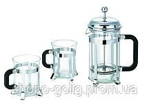 Набор 3 предмета: Френч-пресс 600мл и две чашки по 200мл Krauff