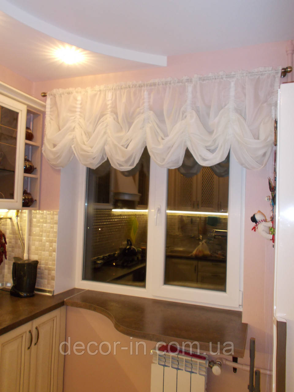"Кухонная штора ""Флоренция"" батист, белый или молоко"