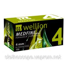 УНІВЕРСАЛЬНІ голки Wellion MEDFINE plus для інсулінових шприц-ручок 4 мм (32G x 0,23 мм)