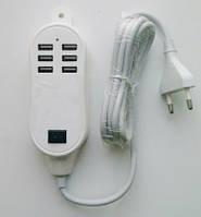 Переходник-адаптер на 6 USB от сети 220, 25W