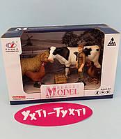 Набор животных Ферма, мужчина с вилами, корова, овца, курица, утка Q 9899-Х15